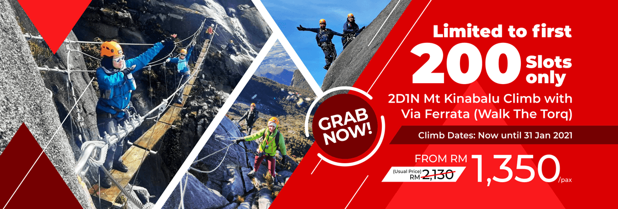 Mount Kinabalu Climb with Via Ferrata (Walk The Torq) Amazing Promo Deal 2020